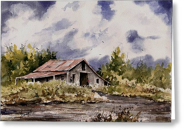 Shack Greeting Cards - Barn Under Puffy Clouds Greeting Card by Sam Sidders