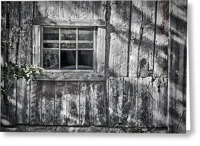 Glass Wall Greeting Cards - Barn Window Greeting Card by Joan Carroll