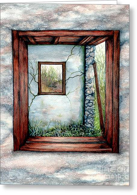 Wooden Building Paintings Greeting Cards - Barn window Peering through time Greeting Card by Janine Riley