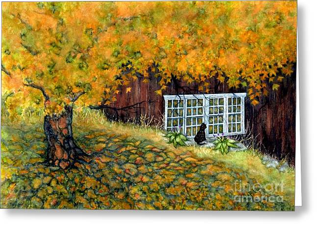 Old And New Paintings Greeting Cards - Barn window Reflections Greeting Card by Janine Riley