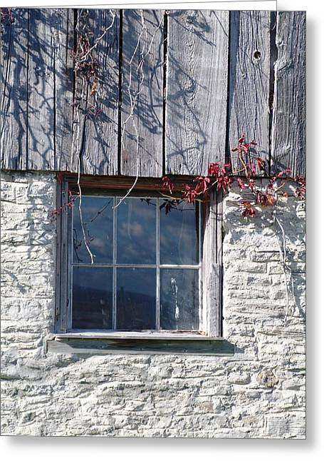 Wine Tour Greeting Cards - Barn Window Greeting Card by Sheila Byers