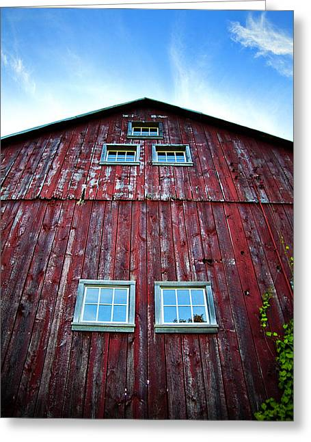 Wisconsin Barn Greeting Cards - Barn Windows Greeting Card by Jeff Klingler
