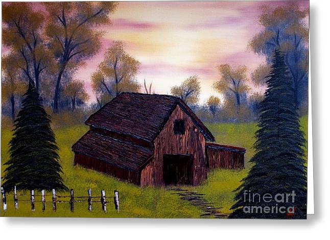 Old Fence Posts Paintings Greeting Cards - Barn with an Evening Sky Greeting Card by Nature