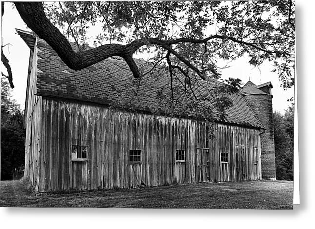 Barn with Brick Silo in black and white Greeting Card by Julie Dant