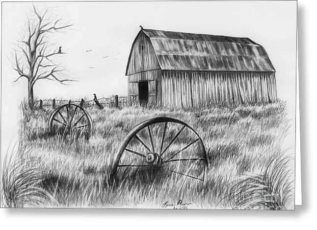 Wagon Wheels Drawings Greeting Cards - Barn With Crows Greeting Card by Lena Auxier