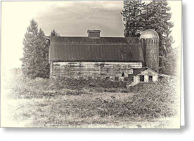 Ron Roberts Photography Greeting Cards - Barn With Silo Greeting Card by Ron Roberts