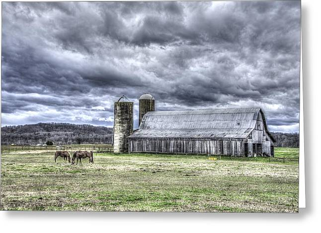 Farm Life Framed Prints Greeting Cards - Barn with Two Silos and Horses Greeting Card by Griffey