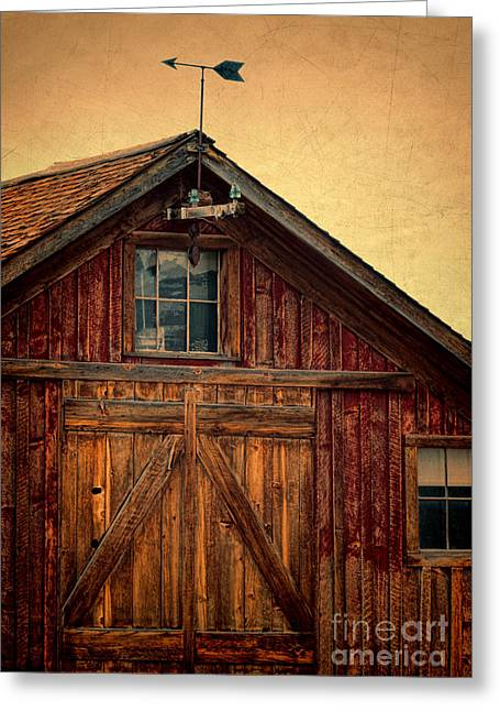 Weathervane Greeting Cards - Barn with Weathervane Greeting Card by Jill Battaglia