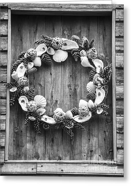 Door Hinges Greeting Cards - Barn Wreath in Williamsburg Greeting Card by Teresa Mucha