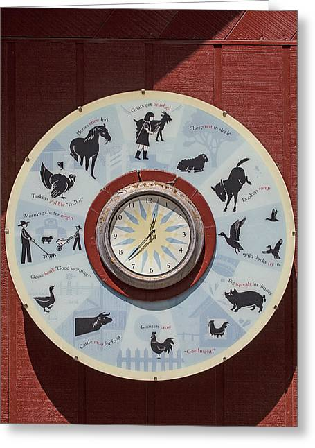 Gadget Greeting Cards - Barn yard clock Greeting Card by Garry Gay