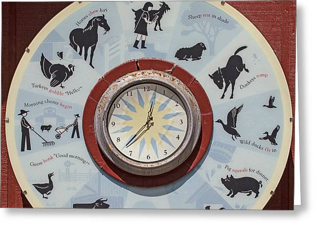 Barn yard clock Greeting Card by Garry Gay