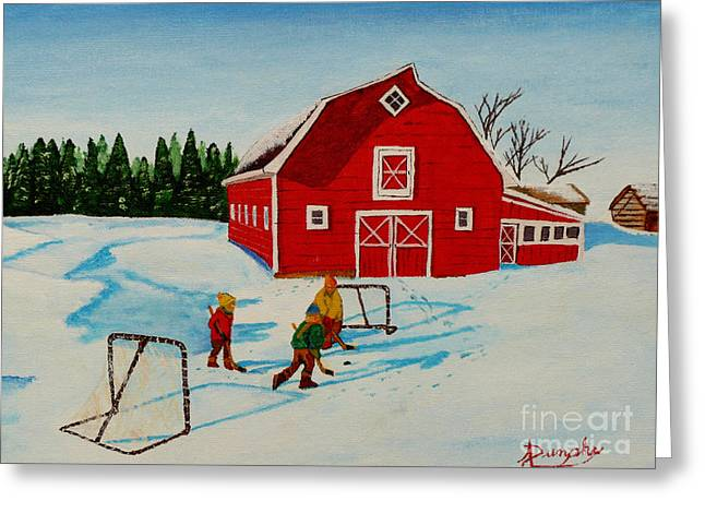 Barn Yard Hockey Greeting Card by Anthony Dunphy