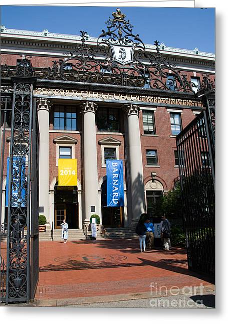 Nyc Greeting Cards - Barnard College Entry Gate Greeting Card by Amy Cicconi