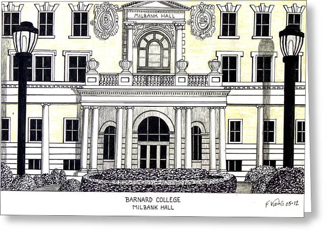 Famous University Buildings Drawings Greeting Cards - Barnard College Greeting Card by Frederic Kohli