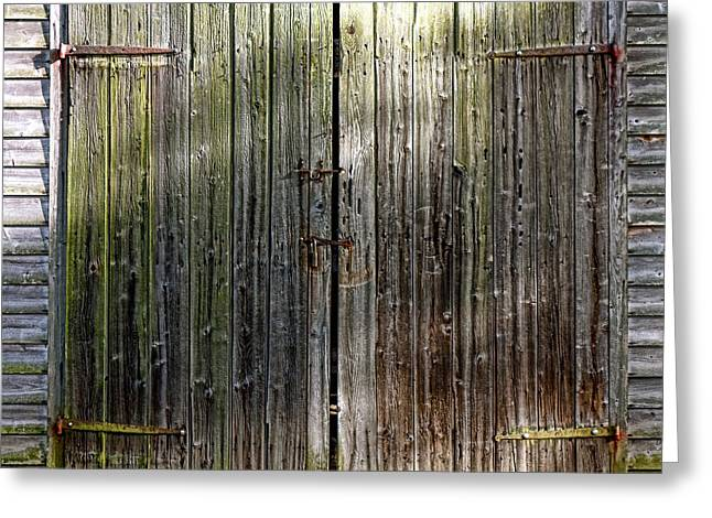 Old Barns Greeting Cards - Barndoors  Greeting Card by Olivier Le Queinec