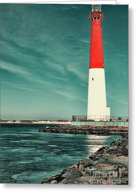 Barnegat Inlet Greeting Cards - Barnegat Inlet Lighthouse 2 Greeting Card by Paul Ward