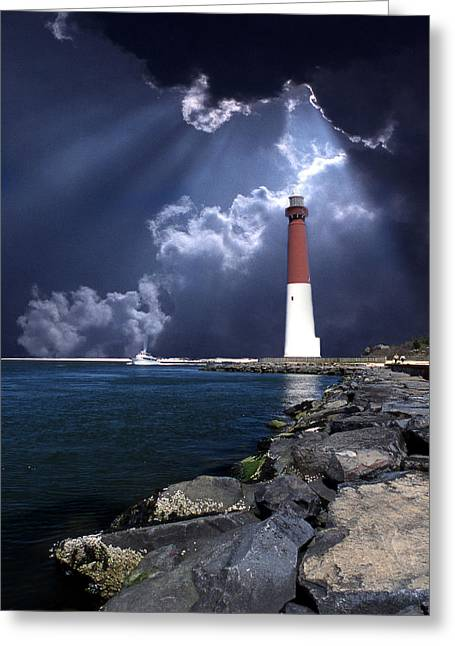 White Art Greeting Cards - Barnegat Inlet Lighthouse Nj Greeting Card by Skip Willits