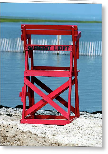 Down The Shore Greeting Cards - Barnegat Light Lifeguard Chair Greeting Card by John Rizzuto