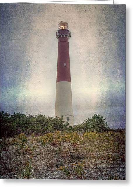 Historic Ship Greeting Cards - Barnegat Lighthouse Dawn Greeting Card by Joan Carroll