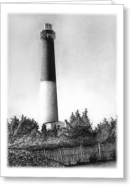 Sandy Beaches Drawings Greeting Cards - Barnegat Lighthouse Greeting Card by Greg DiNapoli
