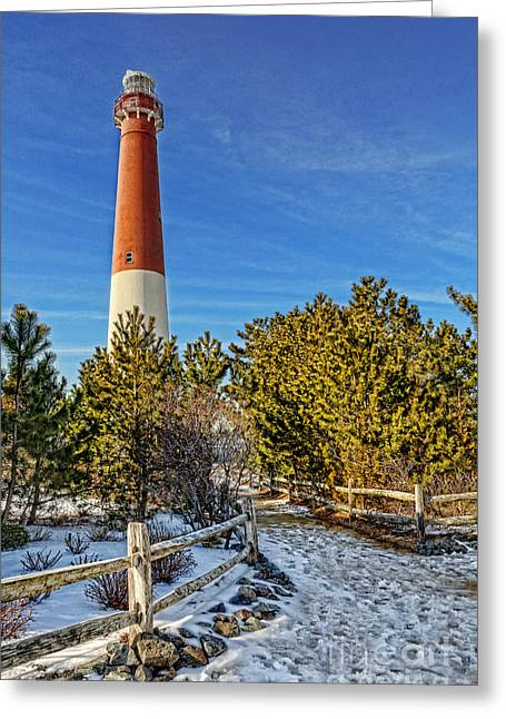 Barnegat Inlet Greeting Cards - Barnegat Lighthouse in Winter Greeting Card by Lee Dos Santos