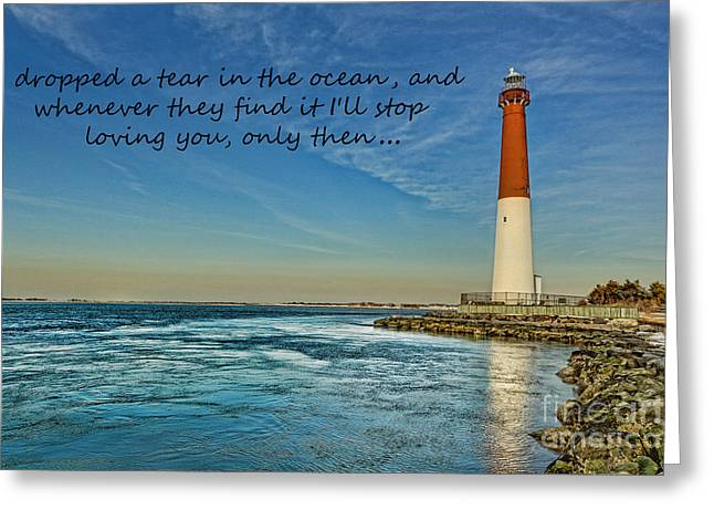 Barnegat Inlet Greeting Cards - Barnegat Lighthouse Inspirational Quote Greeting Card by Lee Dos Santos
