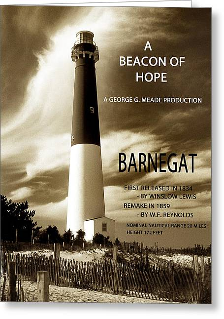 Lighthouse Photography Greeting Cards - Barnegat Production Greeting Card by Skip Willits
