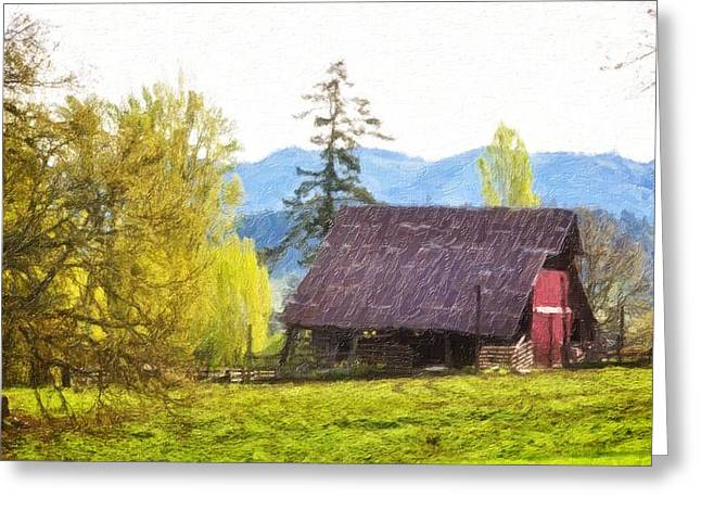 Red Roofed Barn Greeting Cards - Barns In The Past Greeting Card by Image Takers Photography LLC - Laura Morgan
