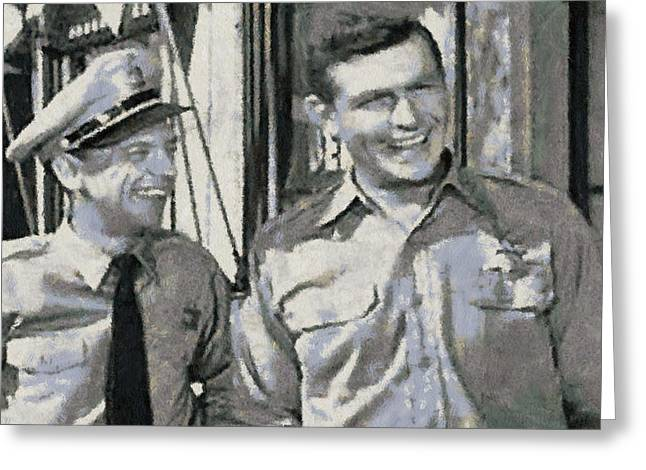 Paulette Wright Digital Art Greeting Cards - Barney Fife and Andy Taylor Greeting Card by Paulette B Wright