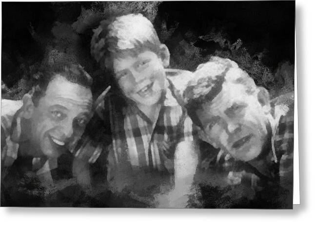 Andy Griffith Greeting Cards - Barney Opie and Andy Greeting Card by Paulette B Wright