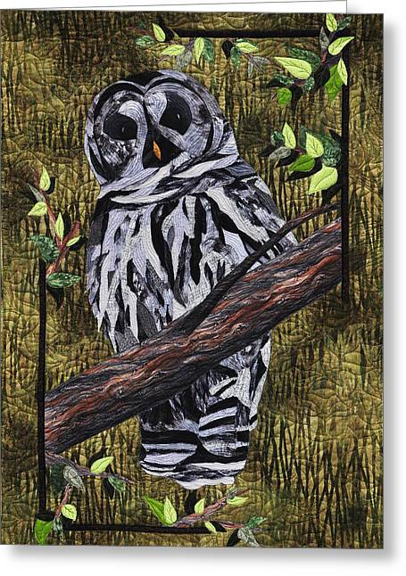 Edge Tapestries - Textiles Greeting Cards - Barney Whoo? Greeting Card by Jo Baner