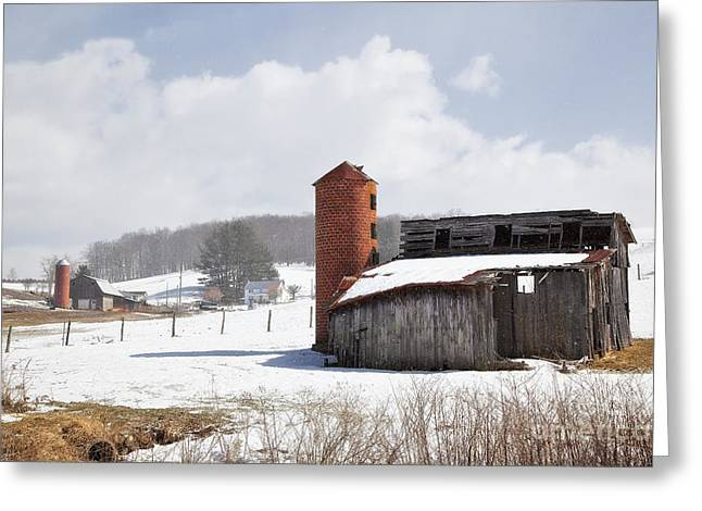 Wintery Barn Greeting Cards - Barns and Silos in Winter Greeting Card by Jill Lang