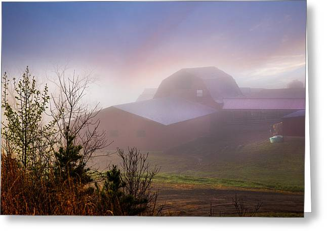 Barns in the Morning Light Greeting Card by Debra and Dave Vanderlaan