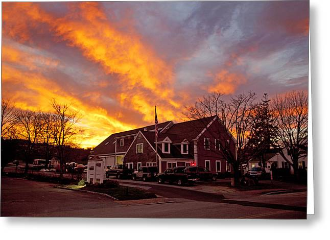 Main Street Greeting Cards - Barnstable Fire Department Greeting Card by Charles Harden