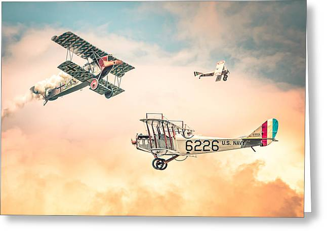 Sky Lovers Art Greeting Cards - Barnstormers in The Golden Age of Flight - Fokker D7 - Spad 7 - Curtiss Jenny JN-4H Greeting Card by Gary Heller