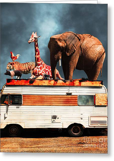Ringling Brothers Greeting Cards - Barnum and Bailey Goes On a Road Trip 5D22705 Vertical Greeting Card by Wingsdomain Art and Photography