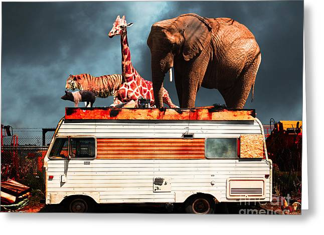 Ringling Brothers Greeting Cards - Barnum and Bailey Goes On a Road Trip 5D22705 Greeting Card by Wingsdomain Art and Photography