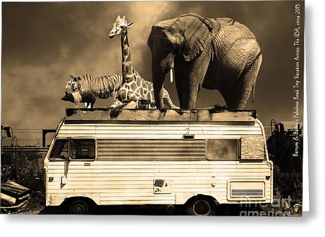 Ringling Brothers Greeting Cards - Barnum and Baileys Fabulous Road Trip Vacation Across The USA Circa 2013 5D22705 sepia with text Greeting Card by Wingsdomain Art and Photography