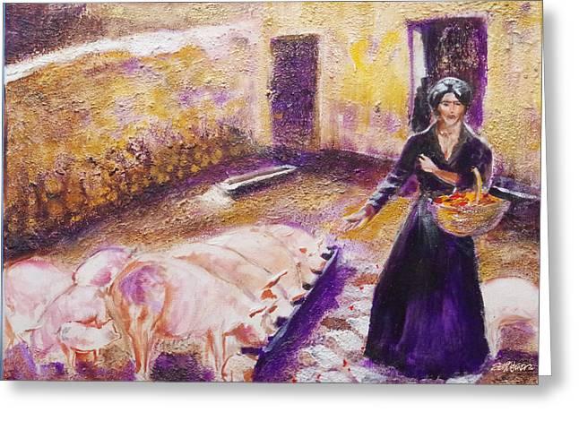 Seth Weaver Greeting Cards - Barnyard Breakfast...chickens and pigs Greeting Card by Seth Weaver