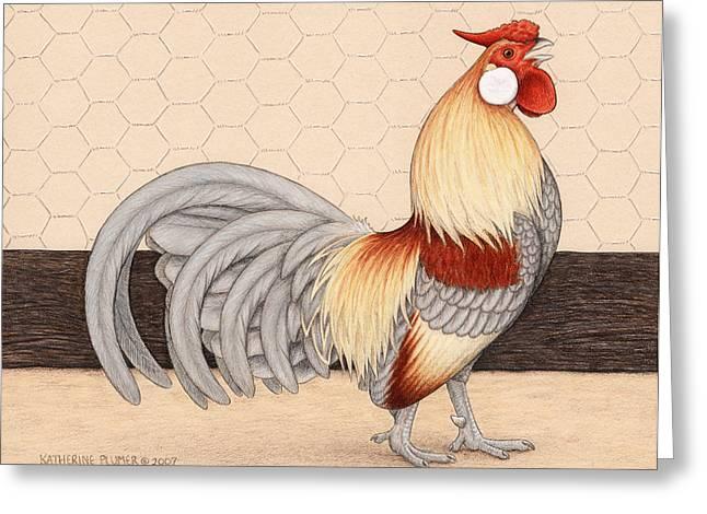 Wire Drawings Greeting Cards - Barnyard Gem Greeting Card by Katherine Plumer
