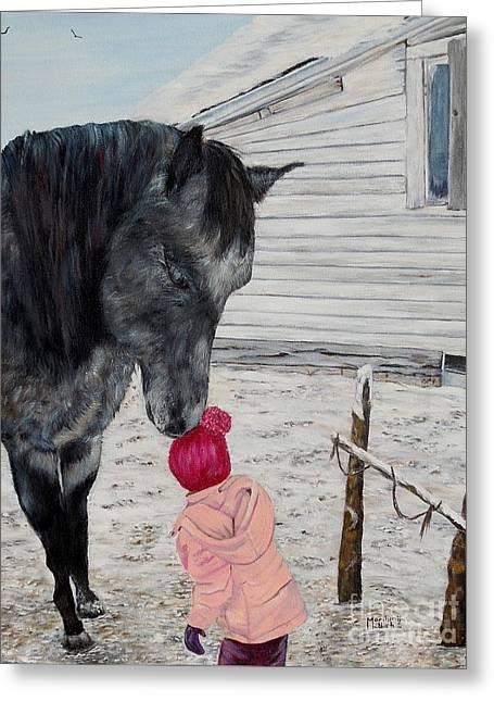 Barnyard Kiss Greeting Card by Marilyn  McNish