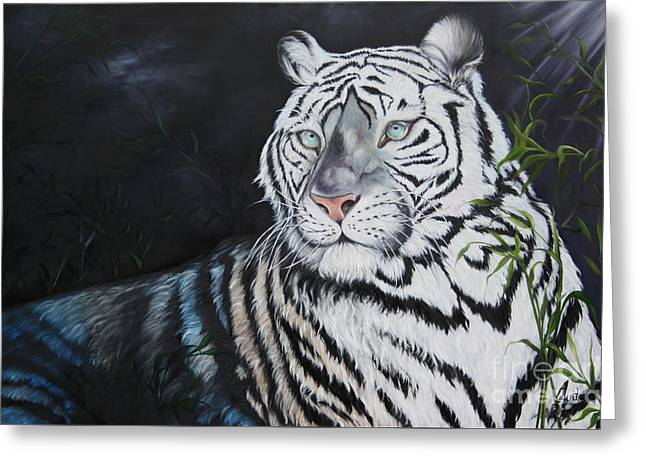 Sienna Greeting Cards - Baroda the Royal white Tiger Greeting Card by  ILONA ANITA TIGGES - GOETZE  ART and Photography