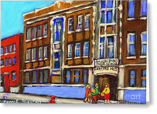 Brick Schools Paintings Greeting Cards - Baron Byng High School 4251 St. Urbain Street Plateau Montreal City  Scene Carole Spandau Montreal A Greeting Card by Carole Spandau
