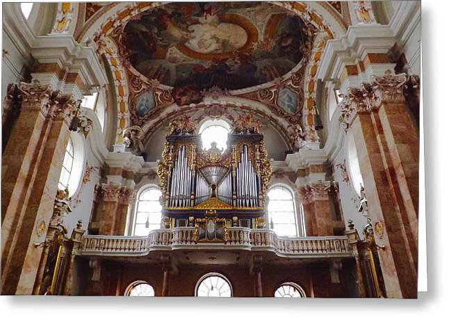 Historical Images Greeting Cards - St. James Baroque Cathedral in Innsbruck Greeting Card by Rumyana Whitcher