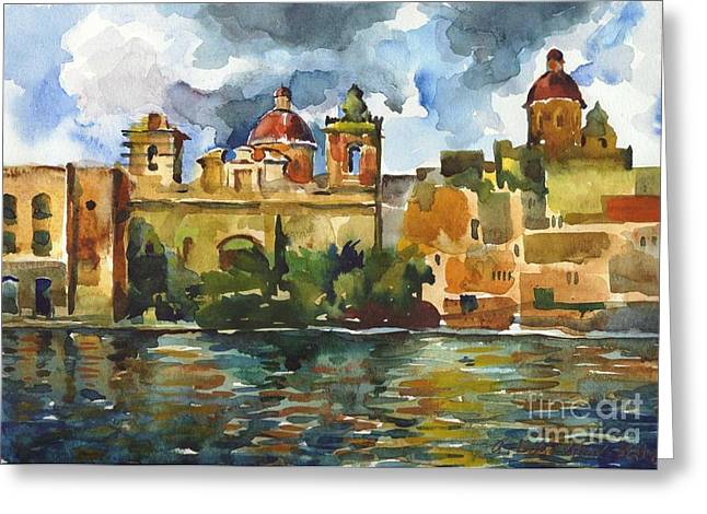 Cupola Paintings Greeting Cards - Baroque Domes and Baroque Skies of Vittoriosa in Malta Greeting Card by Anna Lobovikov-Katz