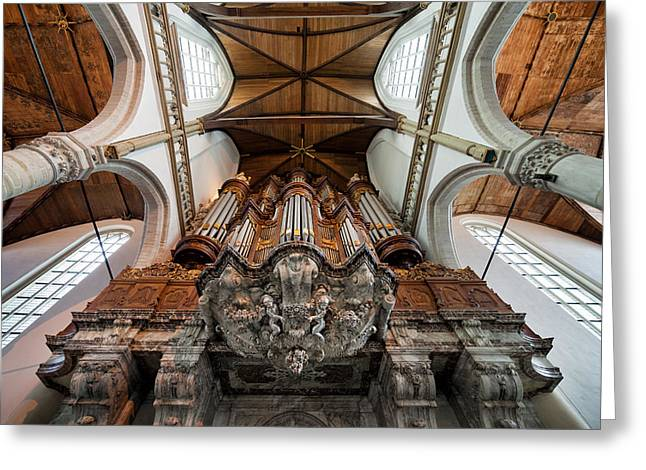 Wooden Sculpture Greeting Cards - Baroque Grand Organ in Oude Kerk Greeting Card by Artur Bogacki