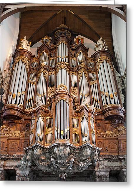 Best Sellers -  - Wooden Sculpture Greeting Cards - Baroque Grand Organ in Oude Kerk in Amsterdam Greeting Card by Artur Bogacki