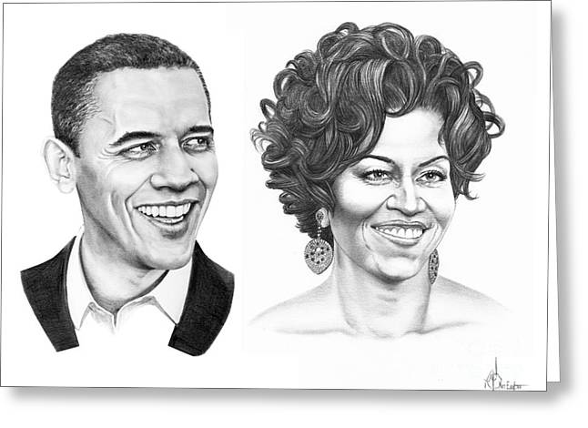 Michelle Obama Drawings Greeting Cards - Barrack and Michelle Obama Greeting Card by Murphy Elliott