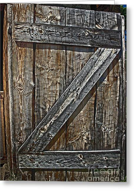 Knotty Greeting Cards - Barrack Door Fort Ligonier  Greeting Card by Tom Gari Gallery-Three-Photography