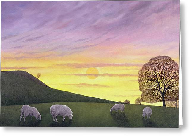 Flock Greeting Cards - Barratts Hill, 2004 Oil On Canvas Greeting Card by Ann Brain